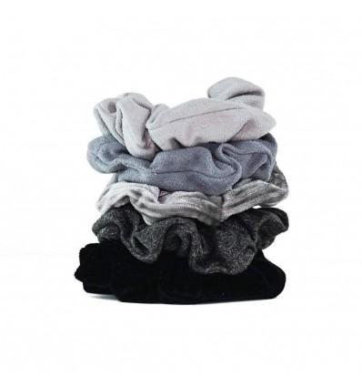 (Black/Gray) Velvet Scrunchies